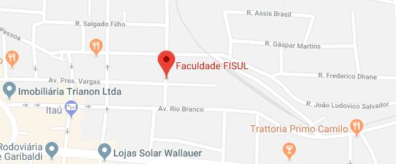 Mapa de localização da fisul