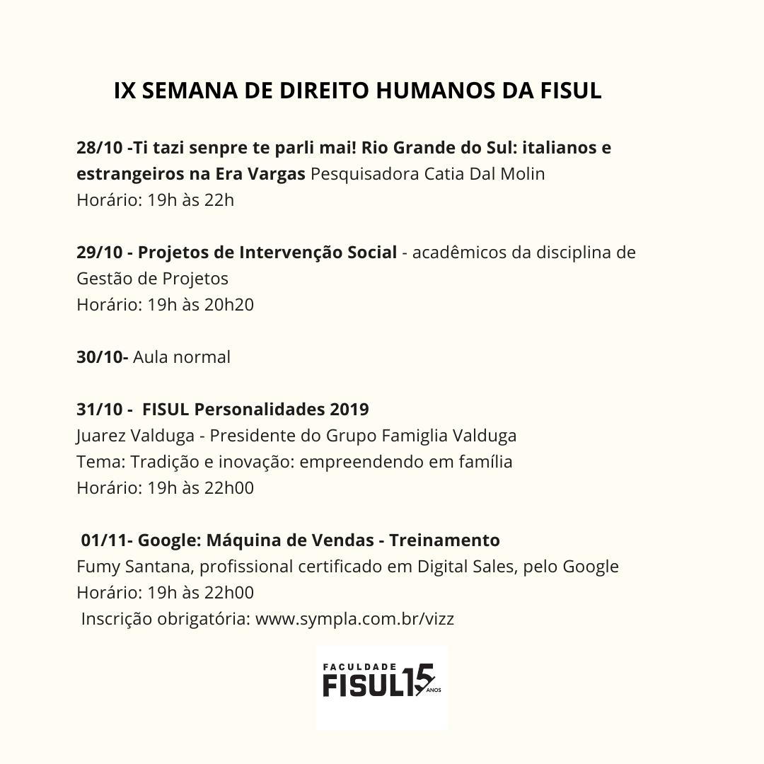IX Semana de Direitos Humanos da FISUL